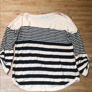 Nude and black striped long sleeve shirt
